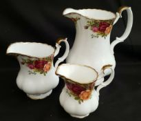 Vintage Royal Albert Old Country Rose 3 Graduated Jugs
