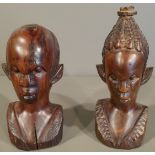 Vintage 2 x Carved Wood African Sculptures Male & Female
