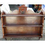 Antique Victorian Carved Wall Mounted Plate Rack Display Shelf & Bookshelf