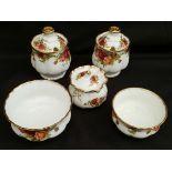 Vintage Royal Albert Old Country Rose 5 Items Includes Jam Honey Pots Sugar Pot etc