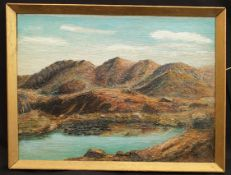 Antique Framed Art Oil on Board Painting Landscape Signed Lower Right 1930
