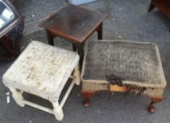Antique 2 x Stools and 1 x Small Inlaid Table