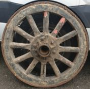 Antique Cart Wheel Wood With Iron Rim