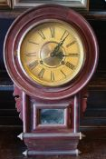 Antique Victorian Wood Cased Wall Clock