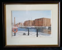 Vintage Art Watercolour Neil Wharton Liverpool Docks 'Ships Moored By Maritime Museum'