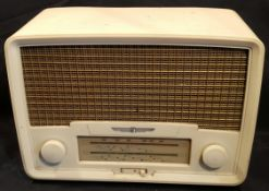 Vintage White Bakelite Radio Rental Model 208 Radio