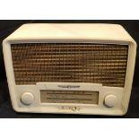 Vintage White Bakelite Radio Rental Model 208 Radio