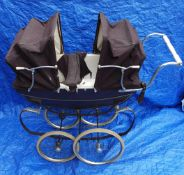 Vintage Silver Cross Twin Dolls Pram & Tri-ang Dolls Cot c1970's