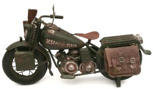 Vintage Metal Model Motor Bike Military Dispatch Rider