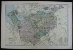 Antique Map of Cheshire 1899 G. W Bacon & Co.