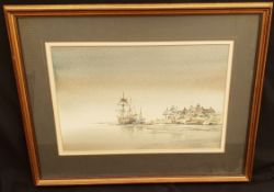 Vintage Art Framed Painting Watercolour Nautical Theme Signed Lower Right George Allen