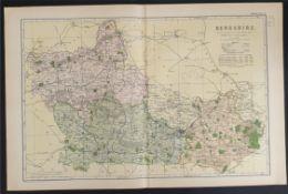 Antique Map Berkshire 1899 G. W Bacon & Co.