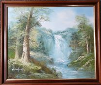 Art Oil Painting Landscape Scene Waterfall Signed R Danford Lower Left