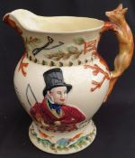 Antique Crown Devon Fielding Large Fox Handle Musical Water Jug John Peel