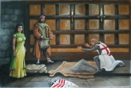 Vintage Art Painting Large Oil on Canvas Knights Templar Signed Lower Right T. G. Sherwin
