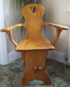 Vintage Solid Elm Arm Chair Hand Made 1970's Ideal For A Hall or Corner