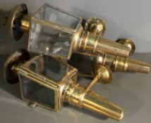 Antique 3 x Brass Carriage Lamps
