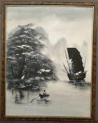 Vintage Framed Art Oil on Canvas Naval Scene Chinese Junk