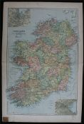 Antique Key Map of Ireland 1899 G. W Bacon & Co.