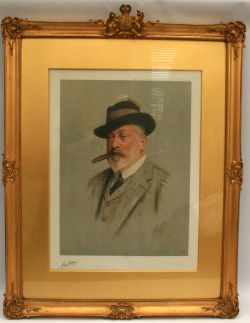 Antique Cecil Curtis Print of King Edward VII Glazed & Framed