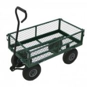 (RL50) Heavy Duty Metal Gardening Trolley - Green Trailer Cart Our latest arrival is the gar...