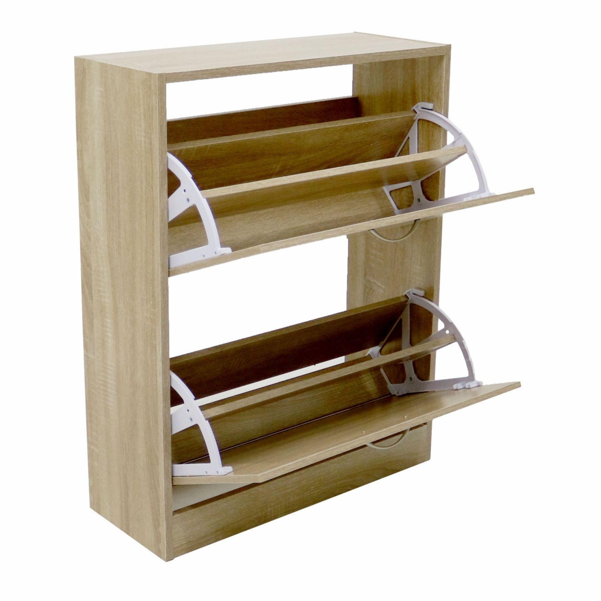 Lot 99 - (RL71) 2 Drawer Oak Effect Shoe Storage Cupboard Cabinet Furniture The shoe cupboard is...