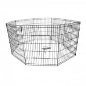 (RL41) Medium Folding Pet Dog Rabbit Run Play Pen Cage Enclosure Fence The metal playpen is ...