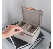 (AP24) Grey Velvet Jewellery Box Plush grey velvet finish is super glam with a matching interio...