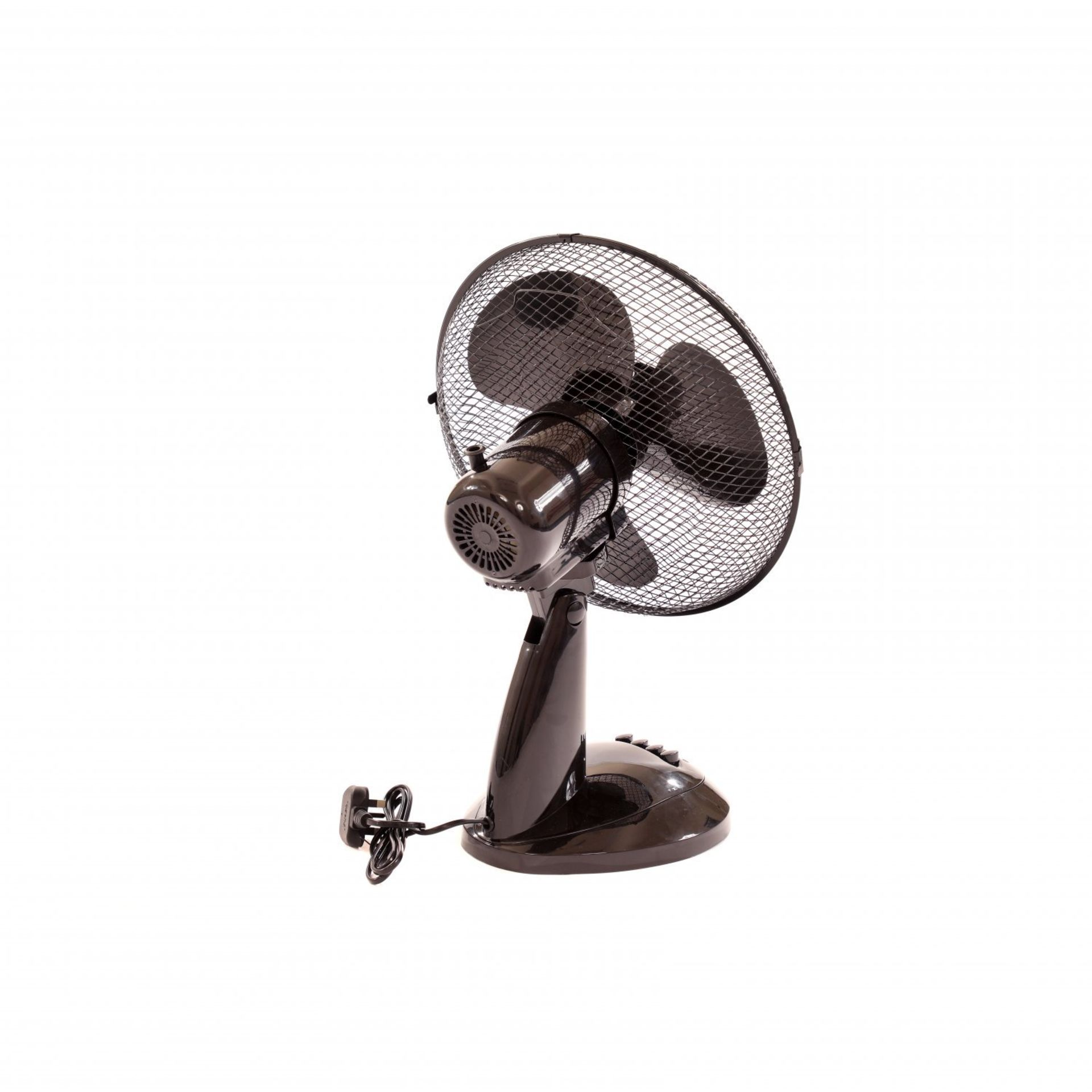 "Lot 168 - (RL112) 12"" 3 Speed Oscillating Black Electric Desk Home Office Fan Stay cool this year with..."