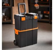 (AP184) Roller Tool Box Durable rubber wheels allow you to store and easily transport tools Two...