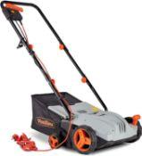 (GE97) Lawn Rake - 1300W Garden Rake with 4 Depth Settings - 32cm Working Width & 28L Collectio...