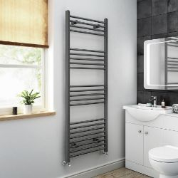 1600x600mm - 20mm Tubes - Anthracite Heated Straight Rail Ladder Towel Radiator. Na1600600.RRP...