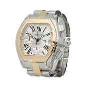 Cartier Roadster XL W62027Z1 or 2618 Men Stainless Steel & Yellow Gold Chronograph Watch