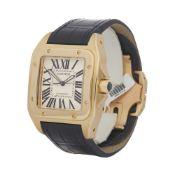 Cartier Santos 100 W20071Y1 or 2657 Men Yellow Gold Watch