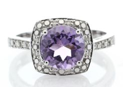 9ct White Gold Amethyst Diamond Ring