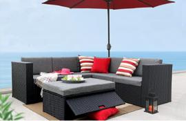 4 sets of - Baner Garden K35 4 Pieces Outdoor Furniture Complete Patio Wicker Rattan Garden Corner