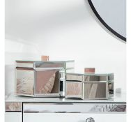 (MY46) Silver Mirrored Trinket Boxes - Set Of 2 Keep your space neat and tidy and your trinket...