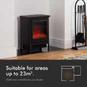 (AP243) 1900W Contemporary Stove Heater The large window displays a realistic LED log fire F...