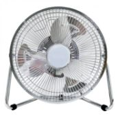 """(G34) 9"""" Inch Chrome 3 Speed Floor Standing Gym Fan Hydroponic Heavy Duty 3 Speed Push Butto..."""