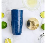 (AP232) Blue & Brushed Gold Cocktail Shaker The 500ml capacity is ideal for short and long dri...