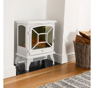 (D15) 1800W White Panoramic Stove Heater Three tempered glass panels offering a panoramic view...