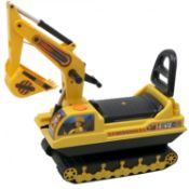 (G27) Childrens Ride On Push Along Yellow Mini Digger Bucket Excavator Dimensions: 78 x 26.5 x...