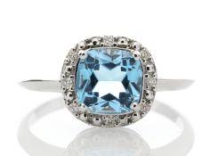 9ct White Gold Blue Topaz Diamond Ring