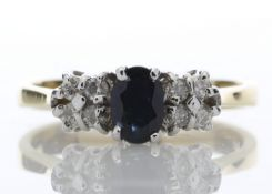 18ct Boat Shape Cluster Diamond Saphire Ring 0.50 Carats