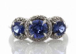 9ct White Gold Created Ceylon Sapphire And Diamond Ring