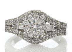 9ct White Gold Round Cluster Claw Set Diamond Ring 1.00 Carats