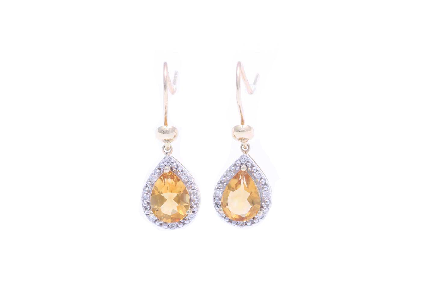 Lot 41 - 9ct Yellow Gold Citrine Diamond Earring 0.13 Carats