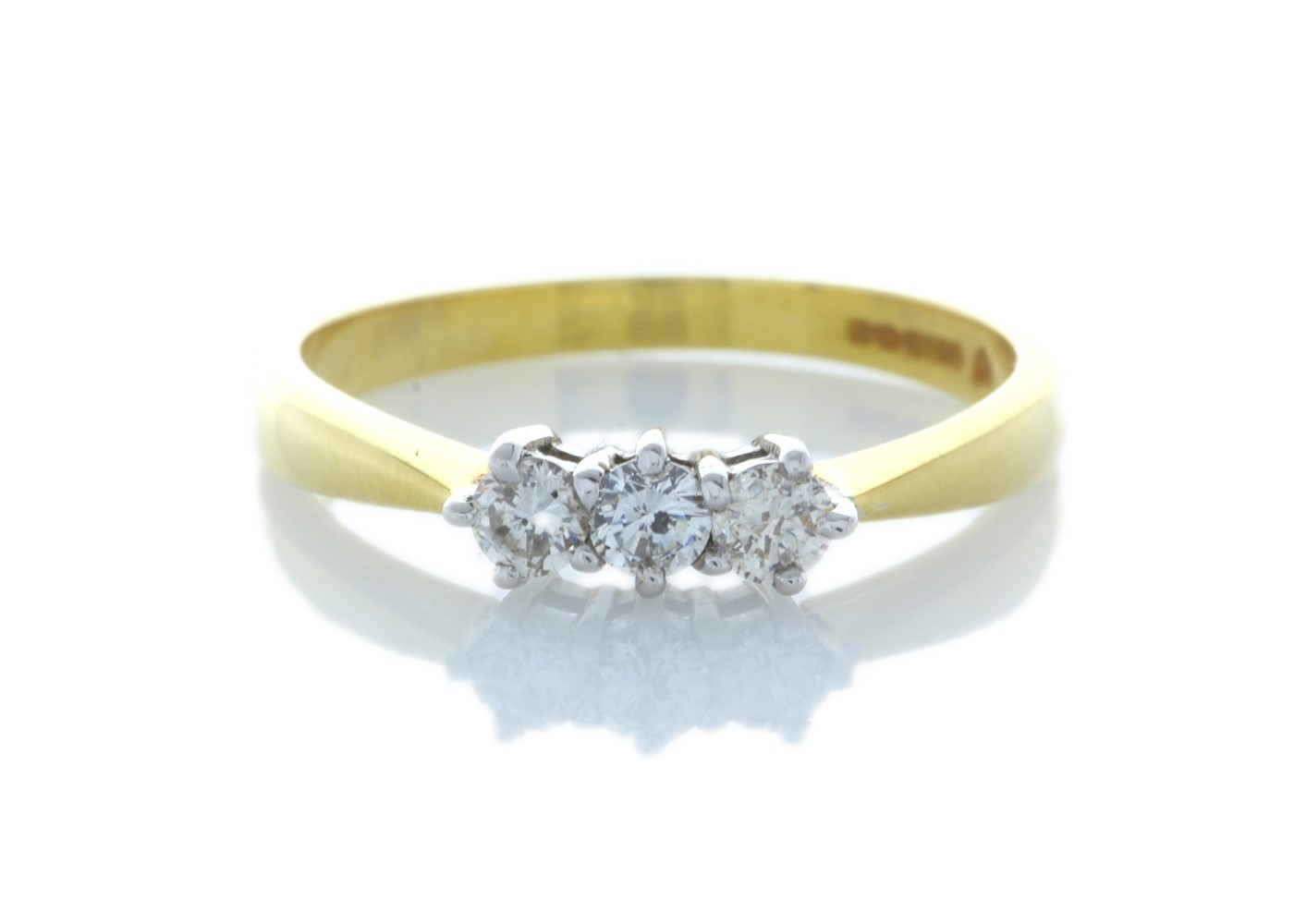 Lot 37 - 9ct Yellow Gold Three Stone Claw Set Diamond Ring 0.25 Carats