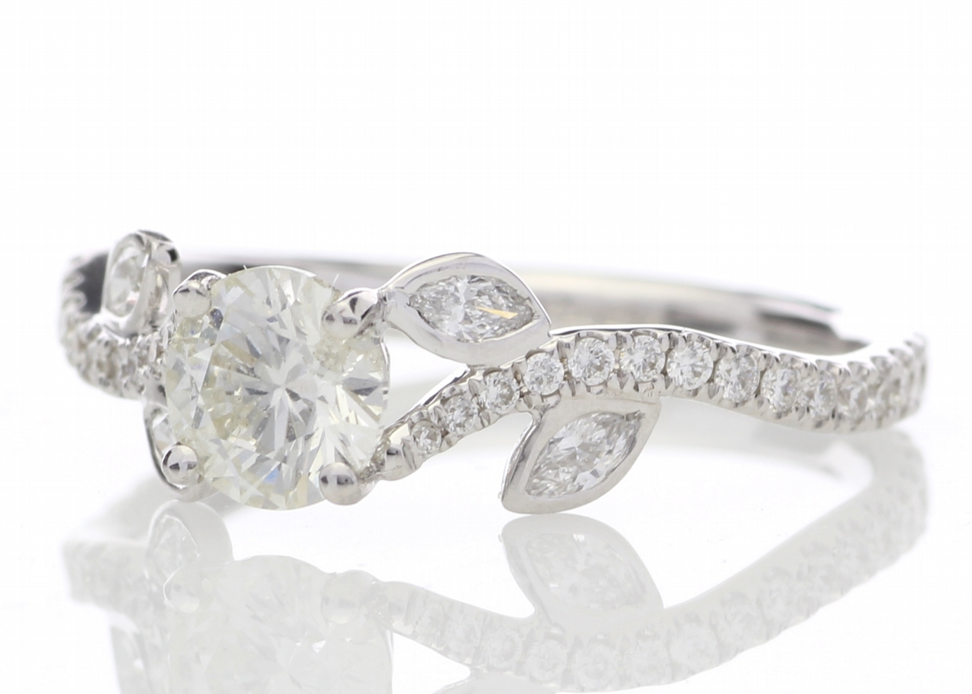 Lot 19 - 18ct White Gold Single Stone Diamond Ring With Stone Set Shoulders (0.55) 0.91 Carats