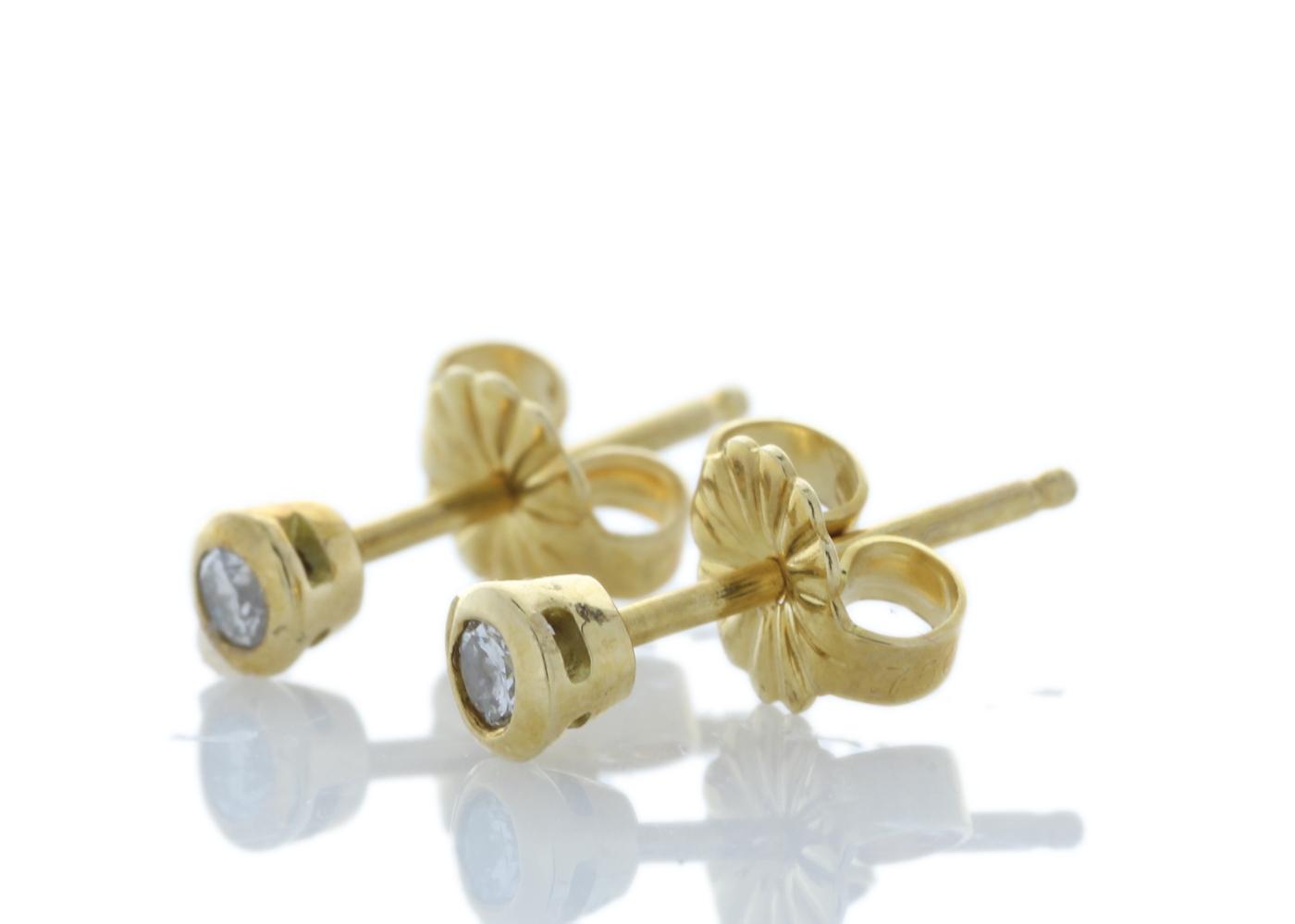 Lot 5 - 18ct Rub Over Set Diamond Earrings 0.10 Carats